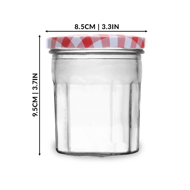 Vasos de vidrio de 324 ml Frascos herm/éticos para salmuera M/&W Tornillo superior tapas de guinga roja Juego de 12 tarros de mermelada