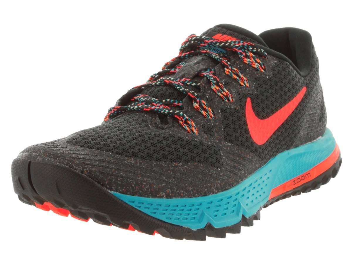 NIKE Women's Air Zoom Wildhorse 3 Black/Hyper Orange/Blue Lagoon Running Shoe 6 Women US