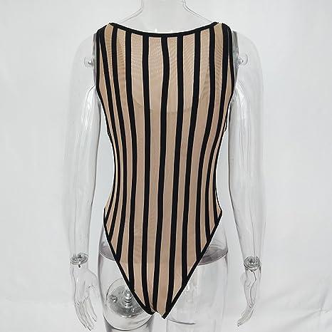 3f81f174e7 Amazon.com  Striped Mesh Sexy Bodysuit Women Sleeveless V Neck Summer Slim  Rompers Jumpsuit Black Casual Playsuit  Clothing