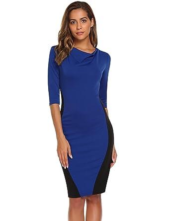 ba609d4dda98b AL'OFA Women's Cowel collar half sleeve knee length patchwork dress ...