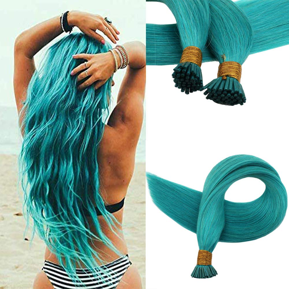 Easyouth Brazilian Hair Extensions 18'' I-Tip Remy Hair Extensions Multi-Colors Teal Natural Human Remy Hair 0.8g/strand Silky Straight Human Hair 50Strands by Easyouth