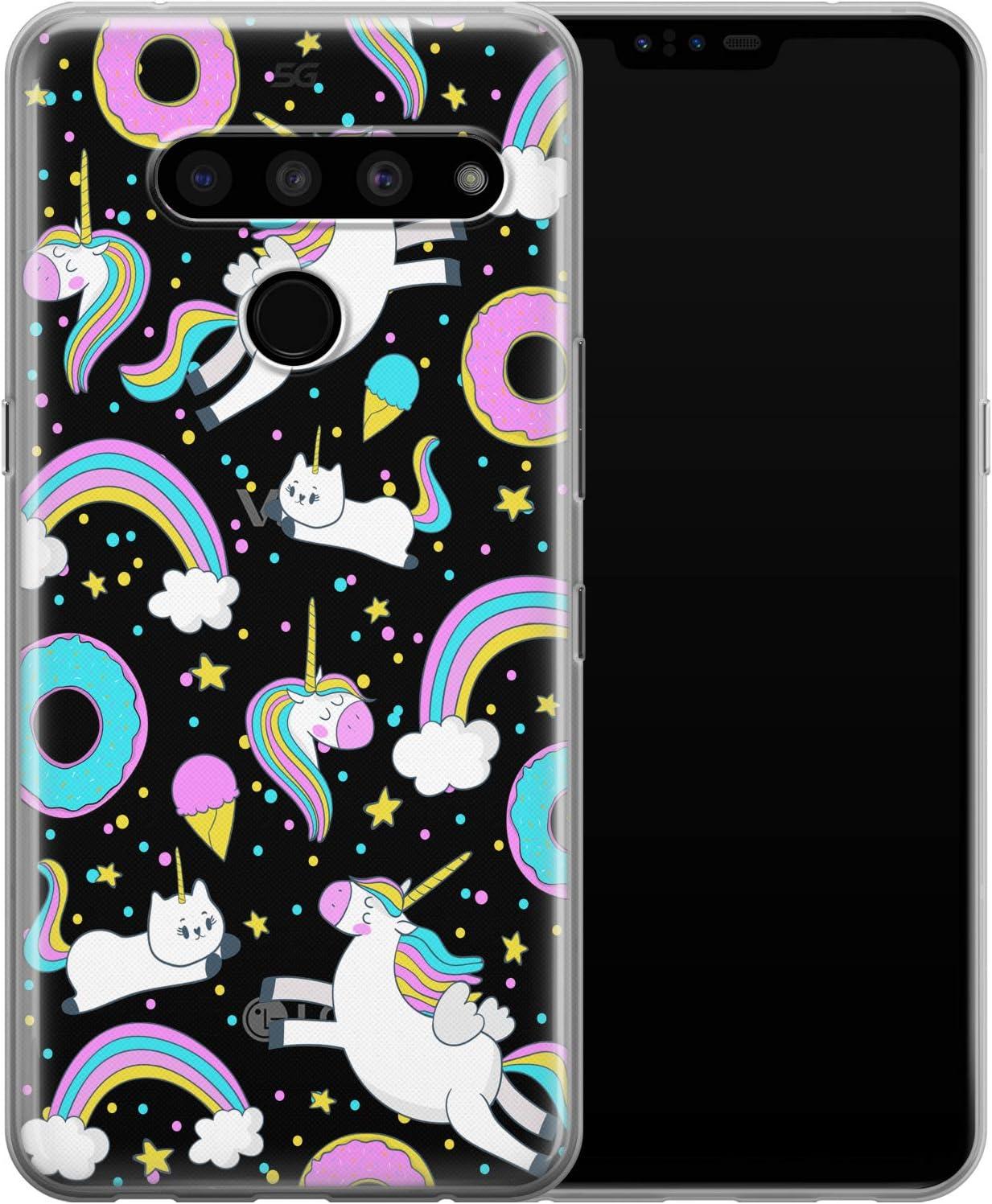 Vonna Phone Case Replacement for LG G8 ThinQ G7 G6 Velvet 5G V50 V40 V35 V30 Plus V20 Smooth Food Donut Girls Blue Soft Silicone Cutie Pink Print Ice Cream Design Flexible Cover Unicorn Teen a002