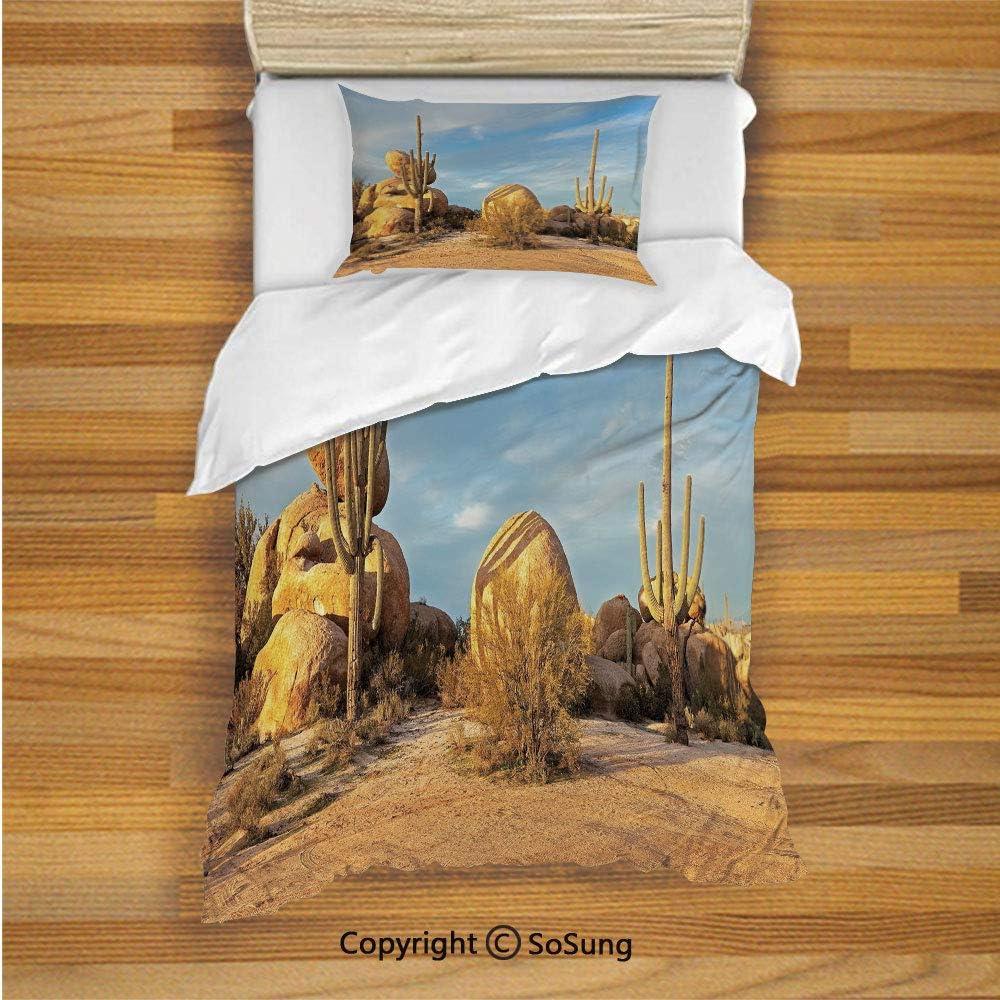 Cactus Decor Kids Duvet Cover Set Twin Size, Desert Scenery Saguaros and Boulders Catching Days Last Sunbeams Decorative 2 Piece Bedding Set with 1 Pillow Sham,Light Blue Light Brown 71G4g4r9MGL