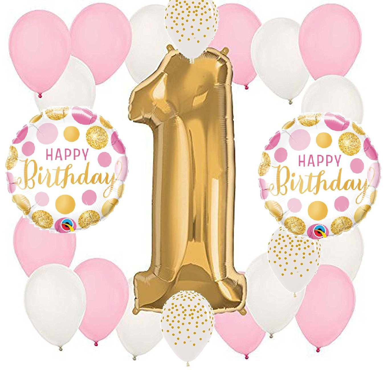 22 PieceパールピンクとゴールドPolka Dots Confetti Dot Girl 's Girl Number One # 1 1st Happy誕生日パーティー10 Piece Mylar &ラテックスバルーンセット   B072555BD9