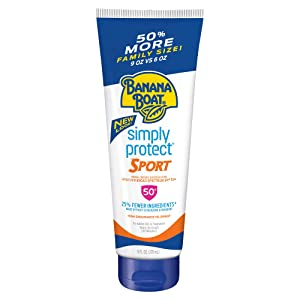 Banana Boat Simply Protect Sport Reef Friendly Sunscreen Lotion, Broad Spectrum SPF 50, 25% Fewer Ingredients, 9 Ounces