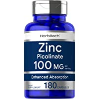Zinc Picolinate 100mg | 180 Capsules | High Potency | Non-GMO, Gluten Free | Zinc Supplement | by Horbaach