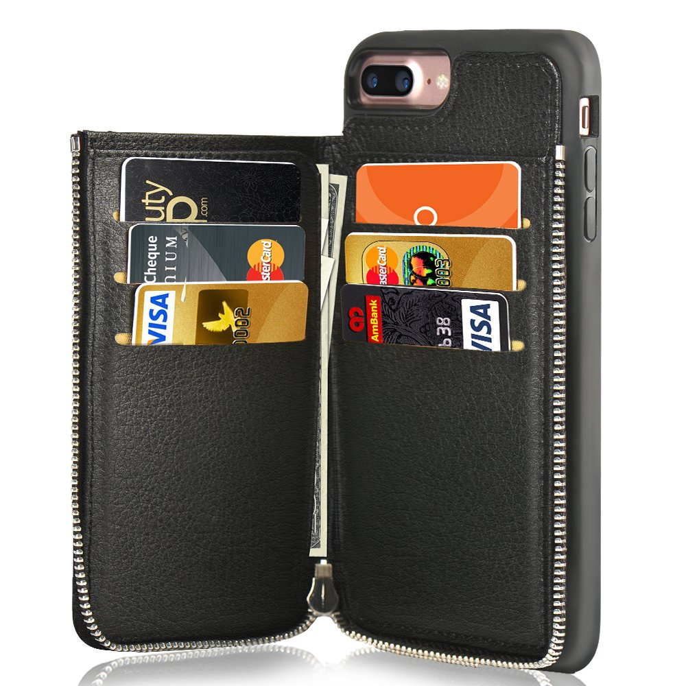 iPhone 7 Plus Wallet Case, iPhone 8 Plus Leather Case, LAMEEKU Shockproof Apple 7 Plus Credit Card Holder Slot Cases with Zipper Wallet, Protective Cover for Apple iPhone 7 Plus/8 Plus - Black