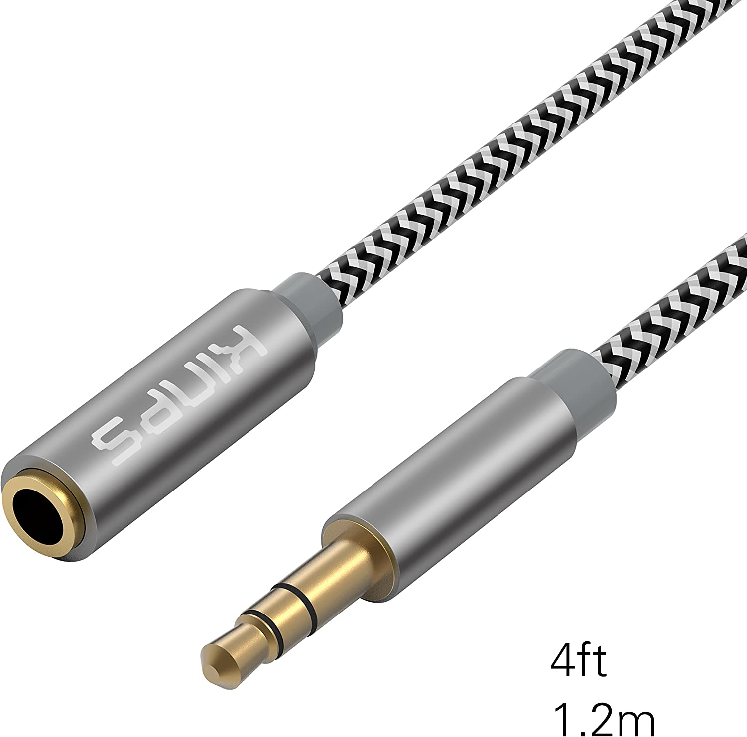 KINPS Audio Auxiliary Stereo Extension Audio Cable 3.5mm Stereo Jack Male to Female, Stereo Jack Cord for Phones, Headphones, Speakers, Tablets, PCs, MP3 Players and More (4ft/1.2m, Black)