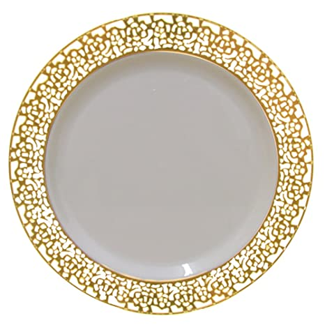 Christmas 10 Inch Plastic Plates Trimmed With Gold Lace. Pack Of 40 Elegant Disposable China  sc 1 st  Amazon.com : china looking plastic plates - pezcame.com