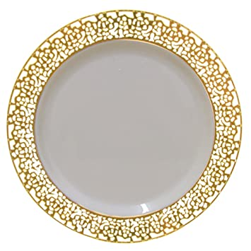 Amazon.com Christmas 10 Inch Plastic Plates Trimmed With Gold Lace. Pack Of 40 Elegant Disposable China Like Dinnerware. 10  Ivory and Gold Lace Dinner ...  sc 1 st  Amazon.com : luxury disposable plates - pezcame.com