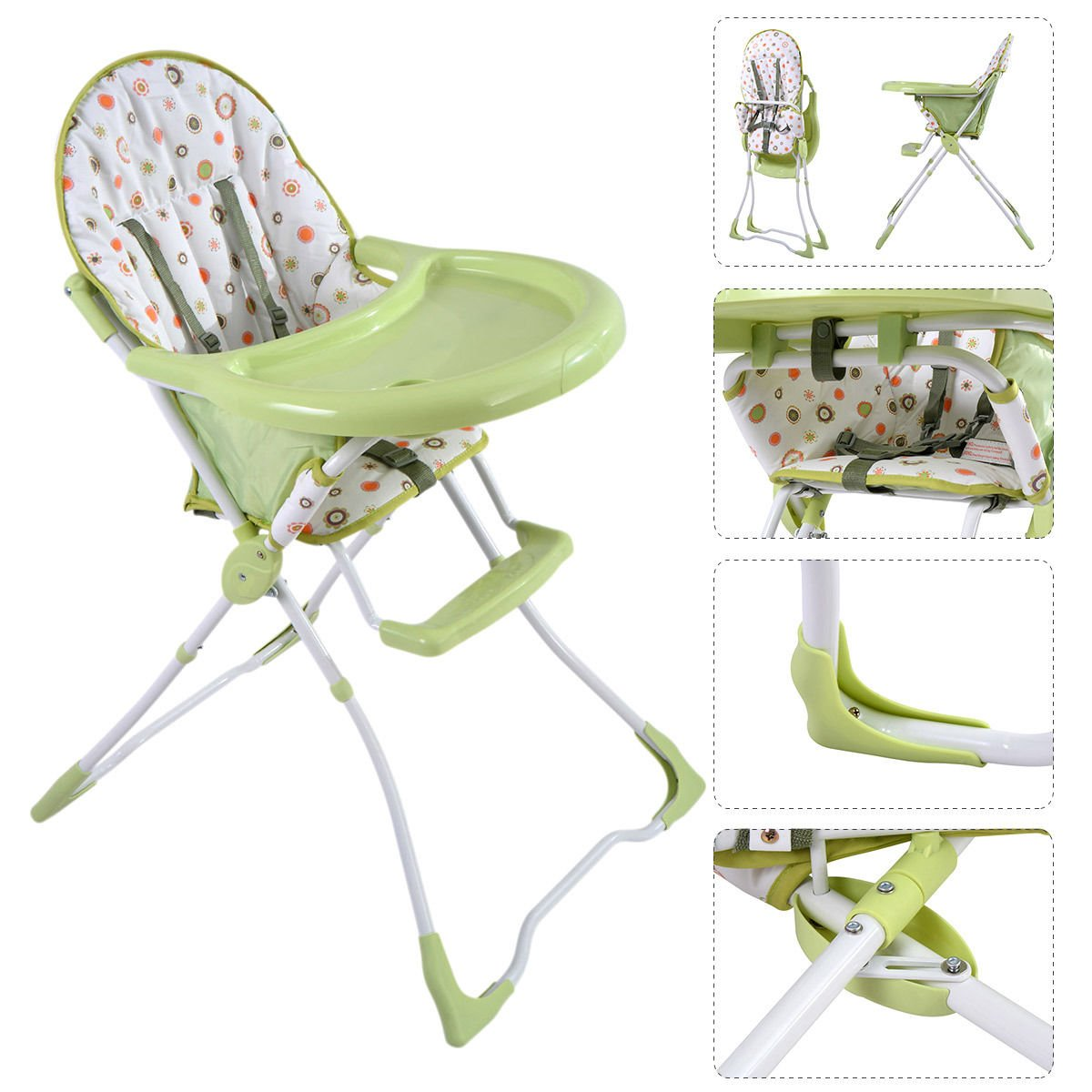 K&A Company Adjustable Baby Toddler Feeding Booster Chair Seat High Folding Infant Portable Highchair in Green