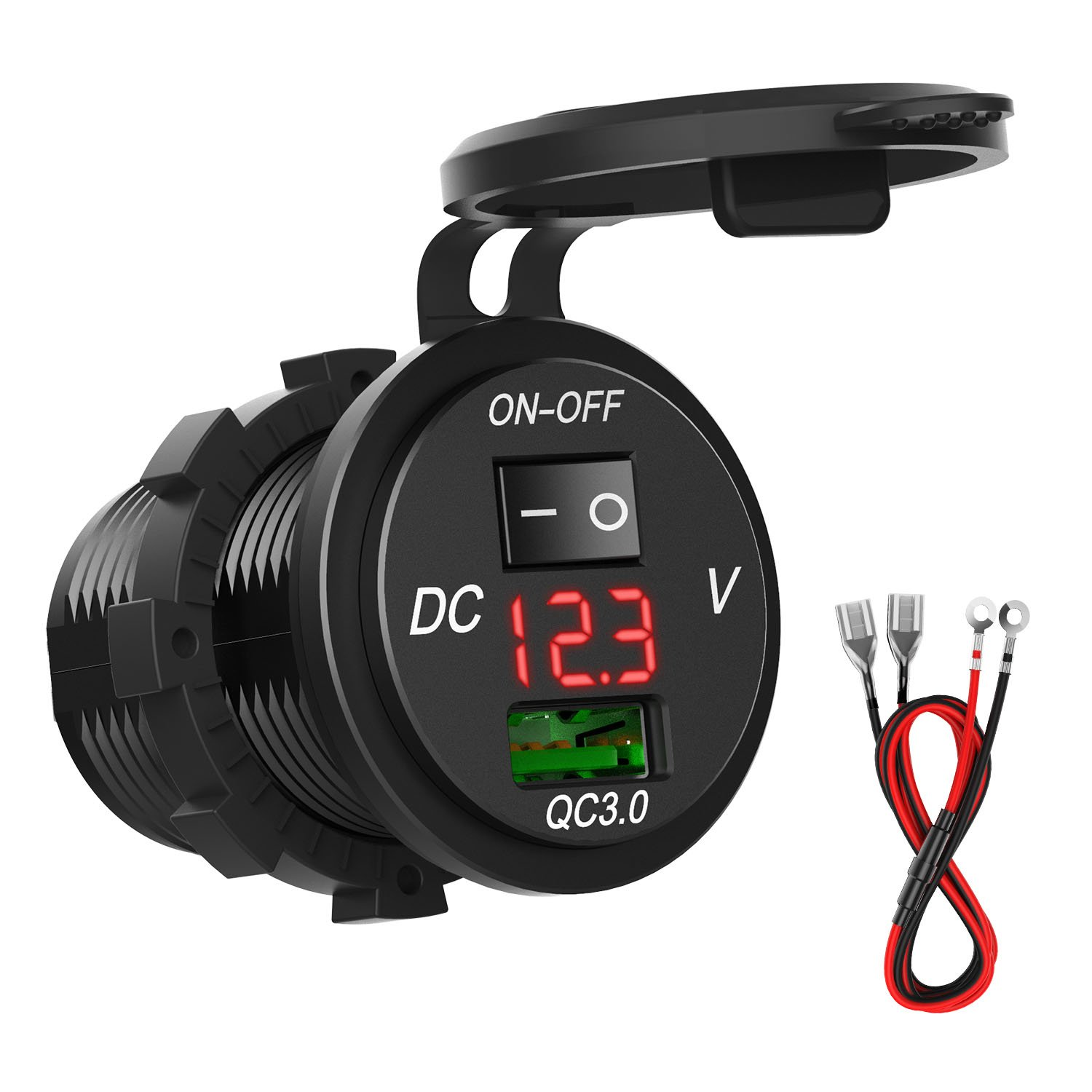 [Quick Charger 3.0] HiGoing 12V/24V Marine USB Outlet, Waterproof USB Car Charger Socket with Voltmeter and On/Off Switch for Marine, Boat, Motorcycle