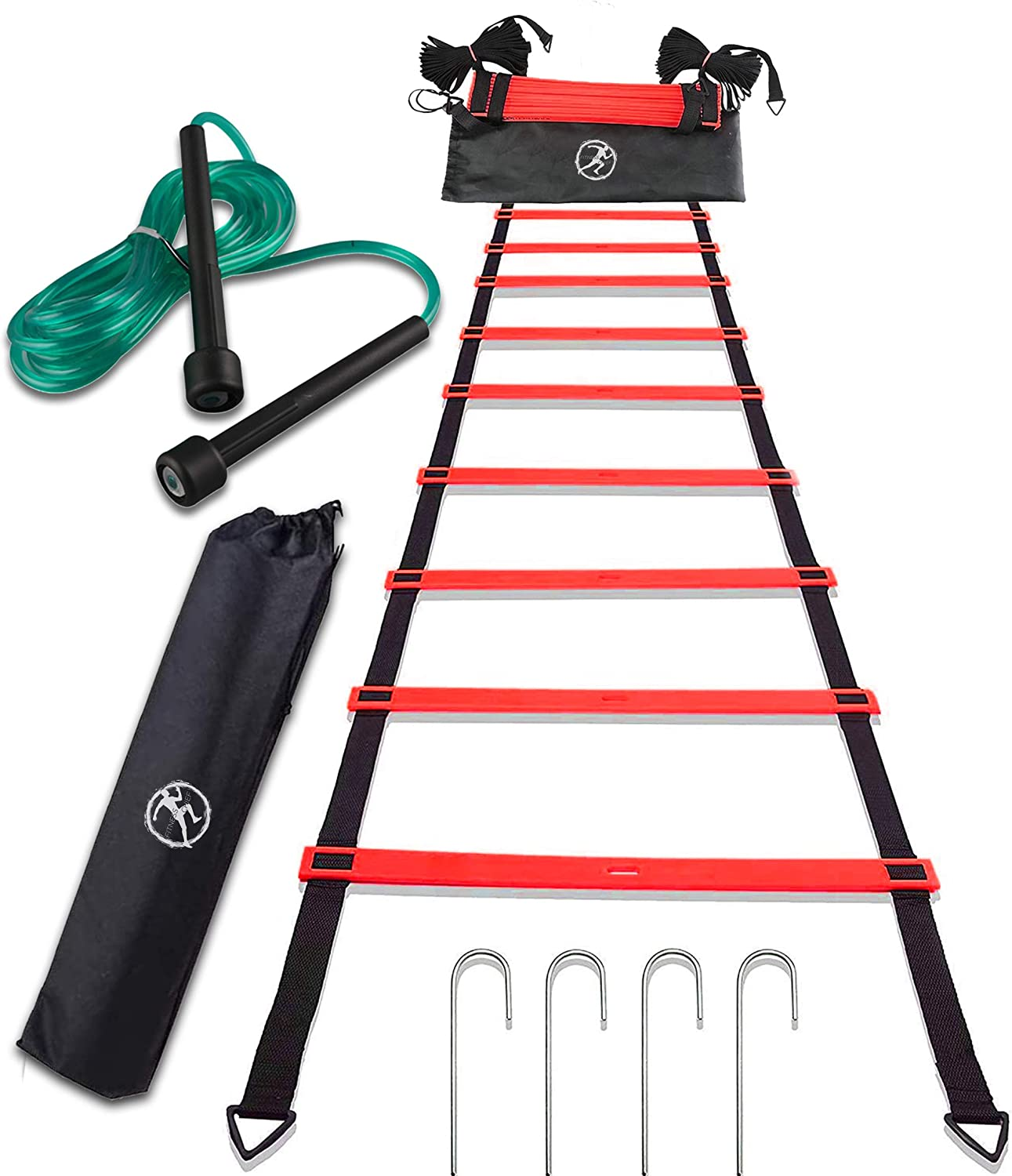 FitnessCHIEF Sport Agility Ladder Set with Jump Rope Equipment Bag for Speed Training,Exercise at Home or Gym or Workout for Kids or Professional