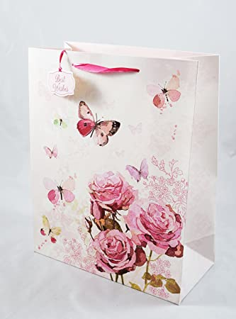 Pink Roses Butterfly Gift Bag Extra Large Luxury Ladies Female Women Birthday