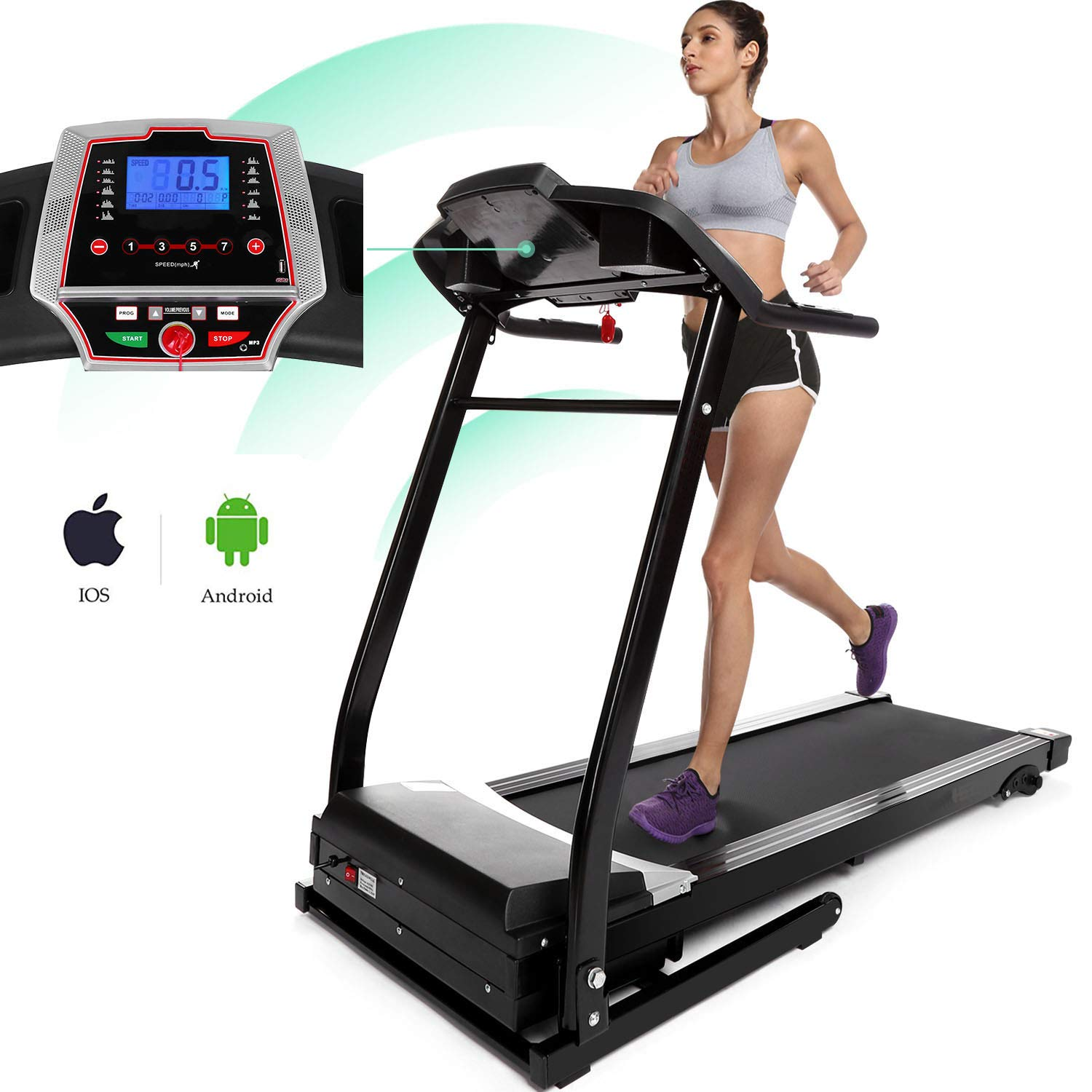 Miageek Fitness Folding Electric Jogging Treadmills with Smartphone APP Control, Walking Running Exercise Machine Incline Trainer Equipment Easy Assembly by Miageek (Image #8)