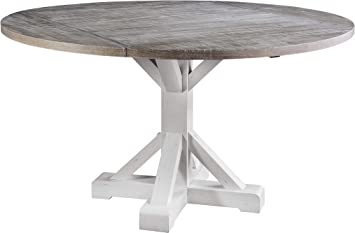 Amazon Com Wallace Bay Davies Dining Table 46 Inch Distressed White Gray Tables