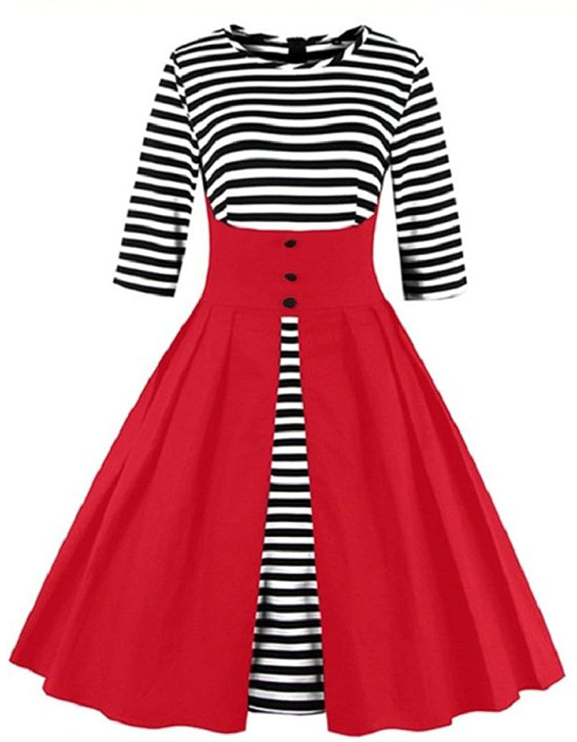 Greenis Women Dress Vintage Stripe Swing Pleated