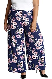 0e590553dd3 Nouvelle Collection New Womens Plus Size Trousers Ladies Bold Floral Print  Palazzo Pants Flared Bottoms