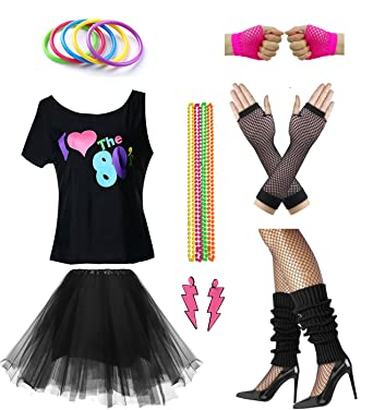 52921ebdbe8d Women I Love The 80's Disco 80s Costume Outfit Accessories Set (S/M,