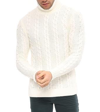 White Flamingo 6602057 Herren Winter Pullover Rollkragen Hoodie Strickpullover Slim Fit Sweatshirt