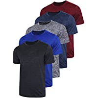 5 Pack Men's Active Quick Dry Crew Neck T Shirts | Athletic Running Gym Workout Short Sleeve Tee Tops Bulk