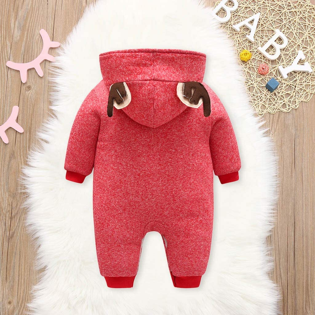 Hunauoo Christmas Print Romper for Baby Girls Boy Letter Printed Romper Bodysuit Outfits Clothes