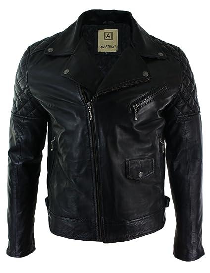 c63f18751 Aviatrix Mens Cross Zip Biker Jacket Real Leather Black Tailored Fit Retro  Casual
