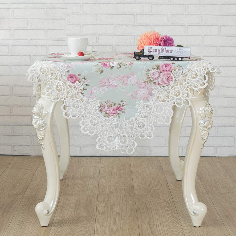 WSHINE Pink White Lace Placemat Bedside Table Cover Flower doilies Scarves Embroidered Table Cloth Wedding Party Furniture Cover Home Decorations Cabinet Tablecloth (Square 31.531.5 Inch(8080cm))