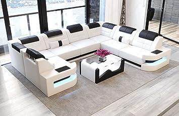 Sofa Dreams Leder Wohnlandschaft Como U Form Weiss Schwarz Amazon