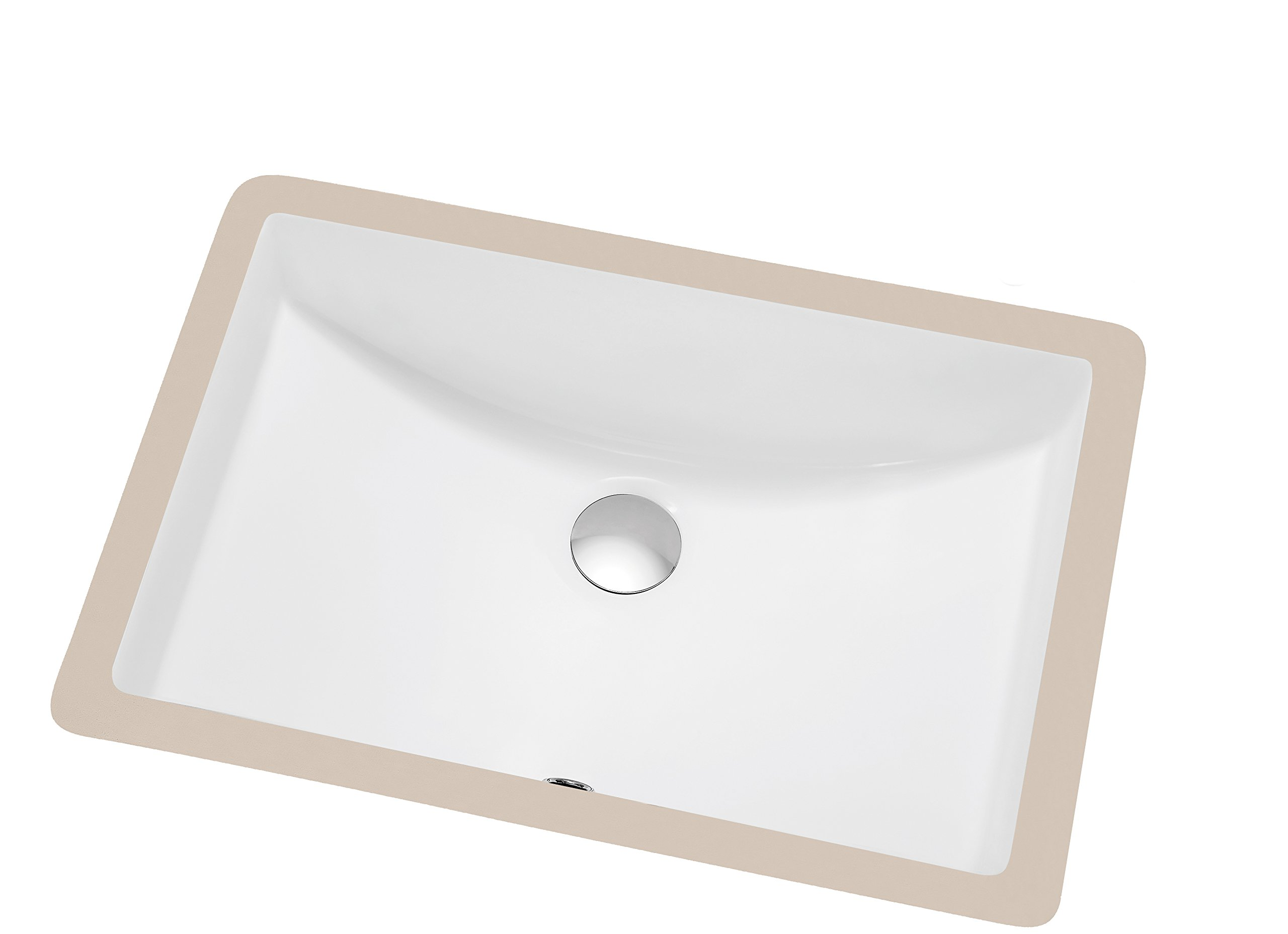 Contemporary Under Counter Rectangle Ceramic Basin with Overflow by Dawn