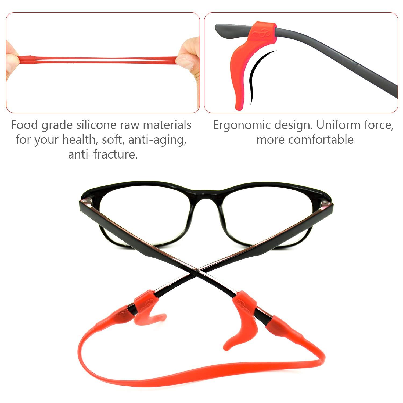 in Verschiedenen Farben cococity Silikon Brillen Halter sport Brillenb/ügel Antirutsch Brillenband mit 6 Paar Ohr Griff Haken Brillenkordel