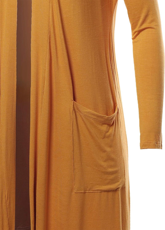 Womens Lightweight Open Front Pocket Long Length Long Sleeve Rayon Cardigan