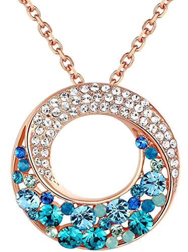 Amazon twin moons rose gold plated multi stone blue green twin moons rose gold plated multi stone blue green swarovski elements crystal twisted circle aloadofball Gallery