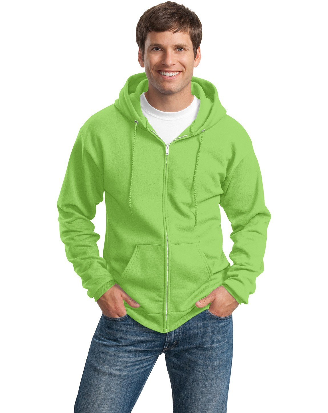 Port & Company Men's Classic Full Zip Hooded Sweatshirt XL Lime by Port & Company