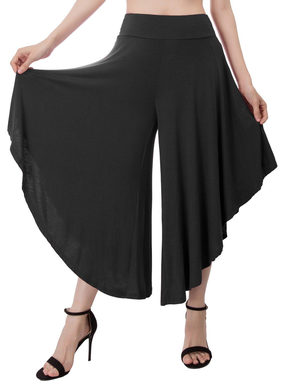 Kate Kasin Women's Layered Wide Leg Flowy Palazzo Pants (XL,Black)