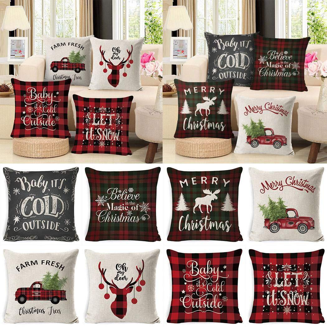 shonlinen Christmas Series Printed Pillowcase Soft Linen Cushion Cover Car Sofa Decoration Pillow Case