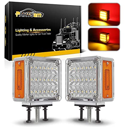 Partsam 2X Square Double Face Clear Lens Amber Red LED Pedestal Light Cab Fender Turn Signal Light For Truck Towing Trailers Dual Face LED Stop Turn