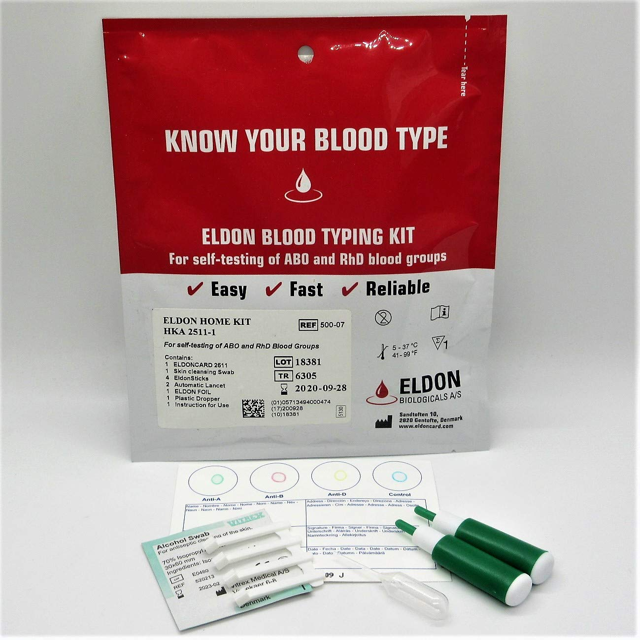 Eldoncard Blood Type Test (Complete Kit) - Air Sealed Envelope, Safety Lancet, Micropipette, Cleansing Swab