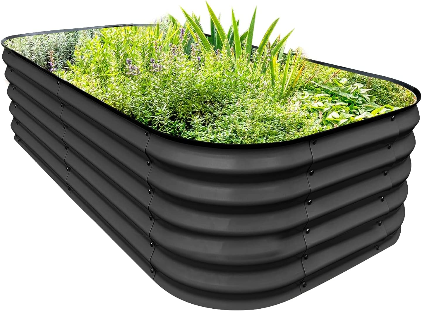 PINTIA1 Steel Raised Garden Beds for Vegetables Flowers, Large Outdoor Planter Herbs Garden Bed Galvanised Steel (6X3X1.45 FT, Charcoal Grey)