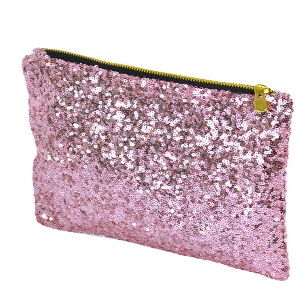Black,pink,silvery,golden Dazzling Glitter Sparkling Bling Clutch Shiny Sequins Evening Party Bag Handbag (Pink)