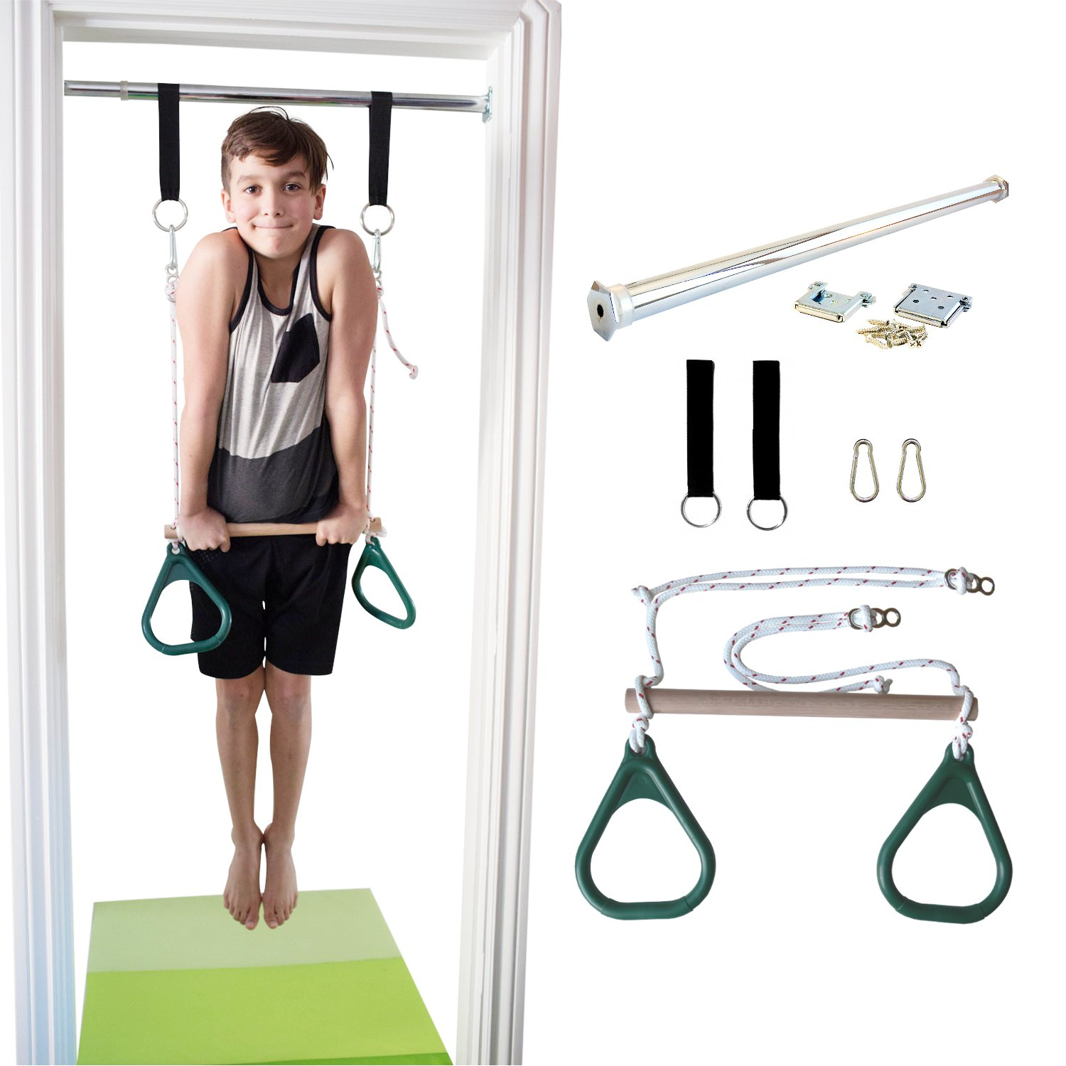 DreamGYM Indoor Swing - Gymnastics Bar and Trapeze Bar and Rings Combo - Green