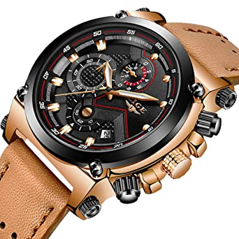 6fc3ebd3e Amazon.com  LIGE Men s Fashion Sport Quartz Watch with Brown Leather ...