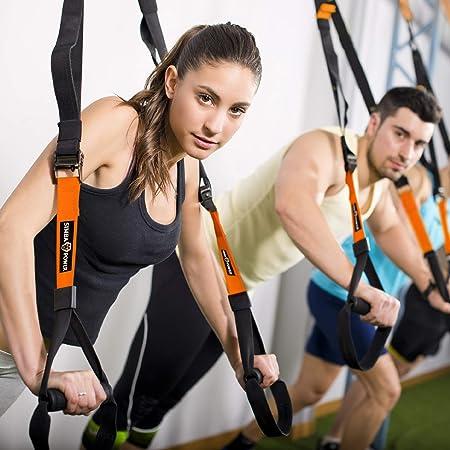 Simba Power Fitness - Kit de entrenamiento ajustable con sistema de resistencia de suspensión con anclaje de puerta para interiores y exteriores