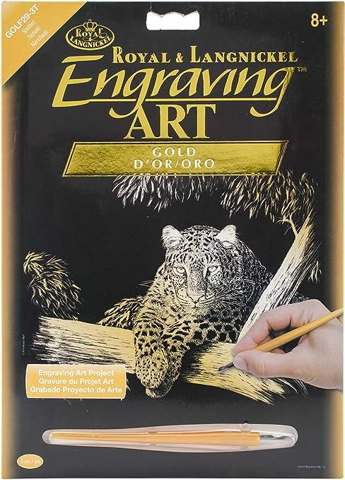 ROYAL BRUSH Gold Foil Engraving Art Kit 8inX10in-Deer Fabric