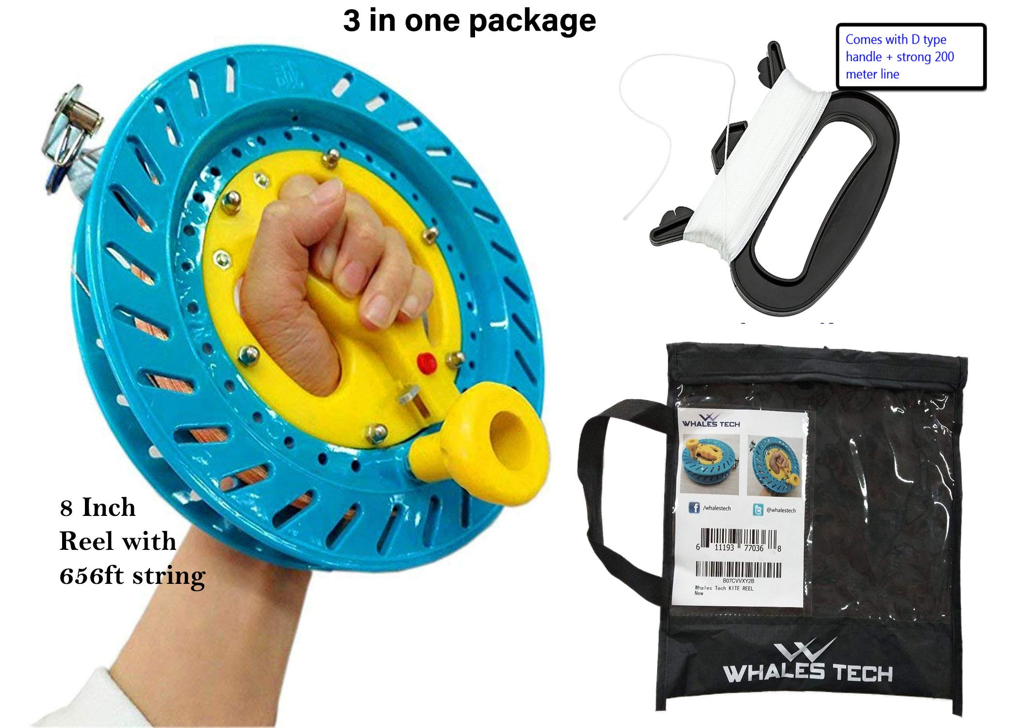 Whales Tech Kite Reel String Winder Blue Steel Lockable Handle Outdoor Kite Strong Flying String Line Smooth Rotation Ball Bearing Adult Kids 3 Pack