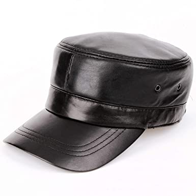0375ade83abb4 Men Genuine Leather Baseball Cap Biker Trucker Outdoor Sports Hats for Army  hat Black