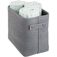 mDesign Soft Cotton Fabric Closet Storage Organizer Bin Basket Storage Organizer for Bathroom - Coated Interior and…