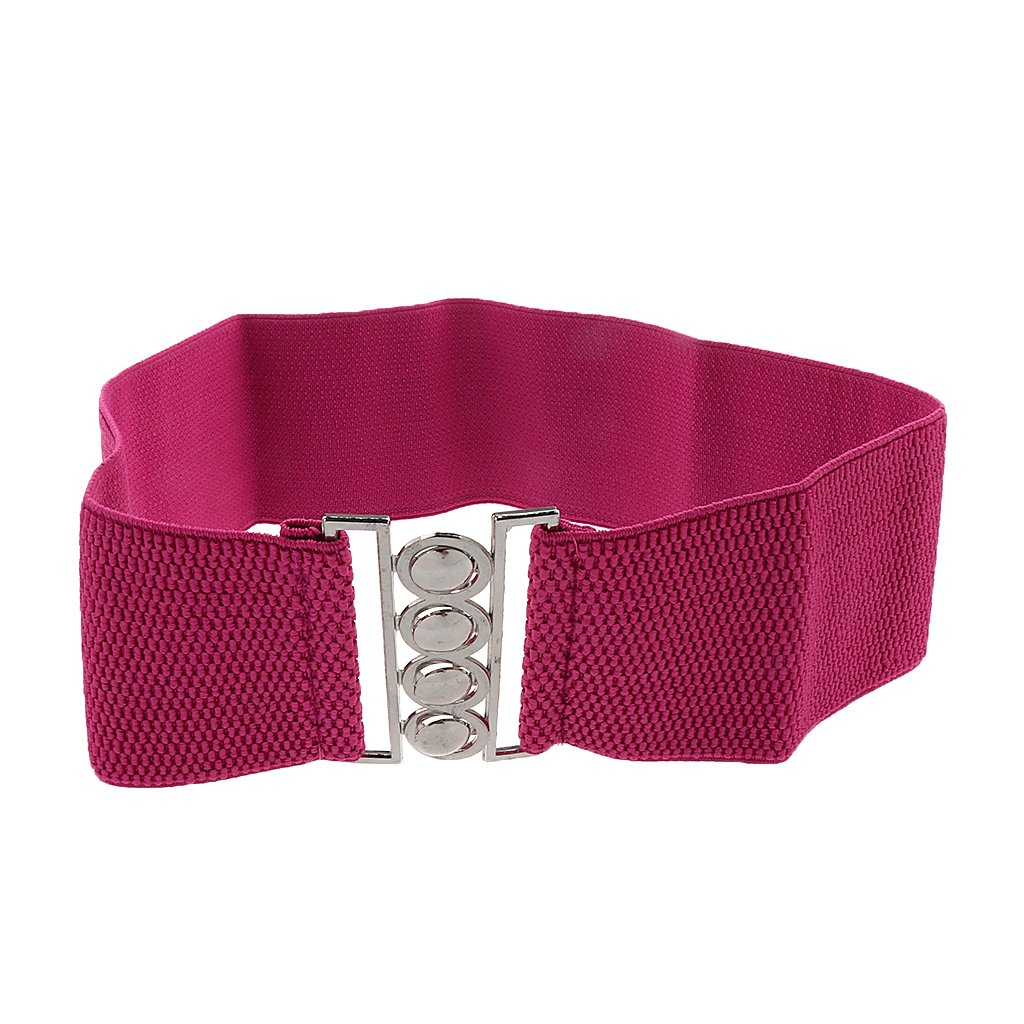 c45f295bbf MagiDeal Women Comfortable Wear Elastic Faux Leather Buckle Waist Shaper  Waist Wide Belt Stretch Waistband Rose Red  Amazon.in  Clothing    Accessories