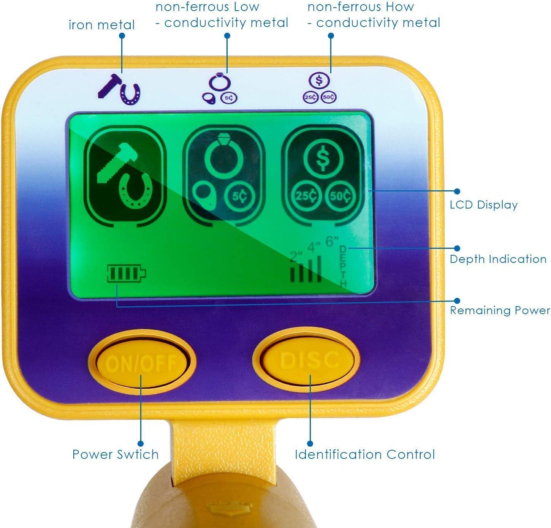 Gold Silver Waterproof Coil Sensitivity Headphone Jack /¨C for Adults and Beginner INTEY Metal Detector High Precision Sensitive LCD Display for Detecting Metals Treasures