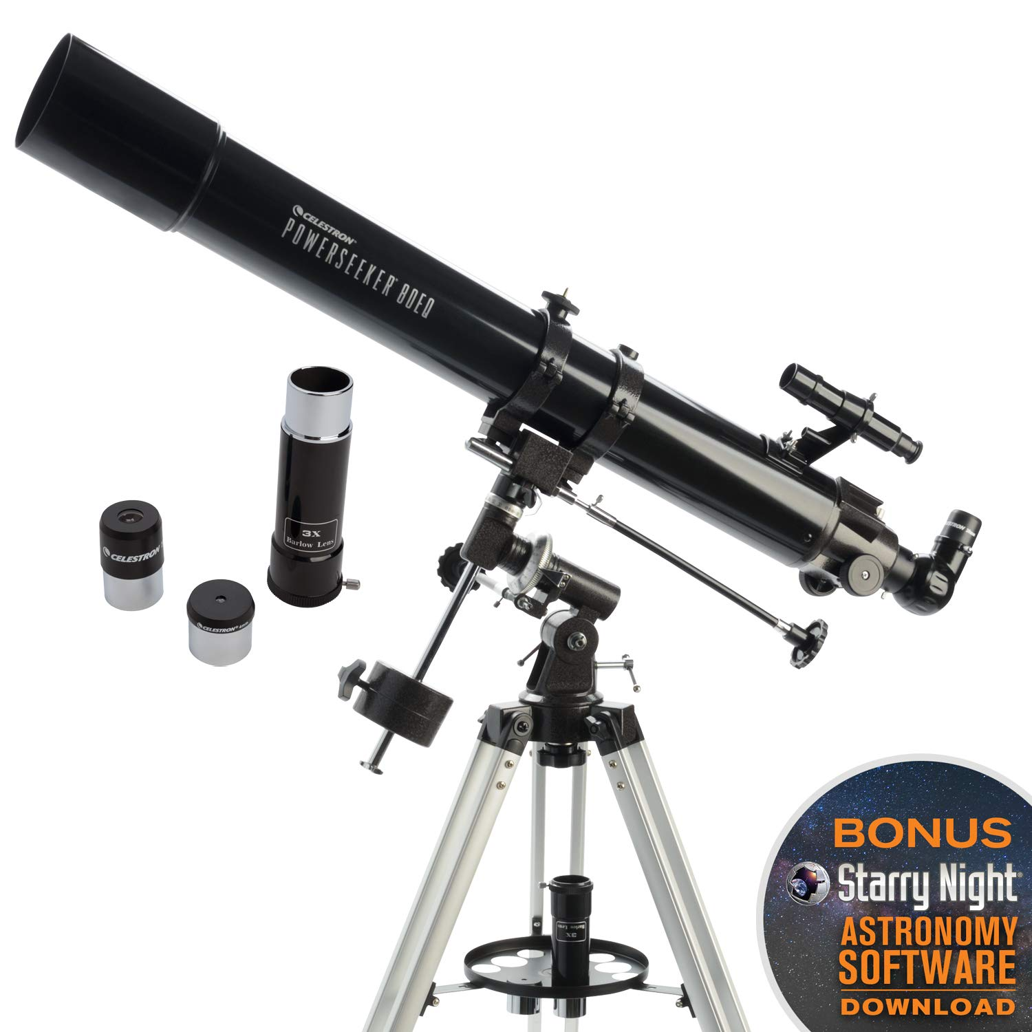 Celestron - PowerSeeker 80EQ Telescope - Manual German Equatorial Telescope for Beginners - Compact and Portable - BONUS Astronomy Software Package - 80mm Aperture by Celestron